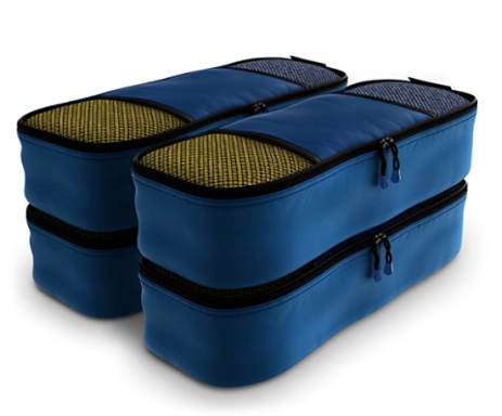 Four stacked packing cubes